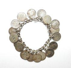 "Antique Victorian 925 Silver WBS LOVE TOKEN & THREE PENCE COIN BRACELET 31.9g 7"""