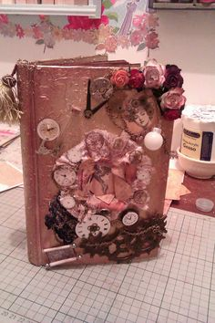 pink altered book
