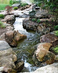 21 Super ideas for backyard landscaping waterfall garden stream Backyard Stream, Garden Stream, Backyard Water Feature, Ponds Backyard, Backyard Ideas, Garden Ideas, Koi Ponds, Backyard Waterfalls, Sloped Backyard