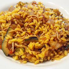 Risoni de verduras y pollo con salsa de soja #singluten