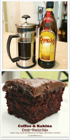 & Kahlúa Crazy Cake (no eggs, milk or butter) Coffee & Kahlúa Crazy/Wacky Cake! (no eggs, milk, butter or bowls) Moist & delicious. So simple. Sweet Recipes, Cake Recipes, Dessert Recipes, Food Cakes, Cupcake Cakes, Kahlua Cake, Wacky Cake, Gateaux Cake, Sem Lactose