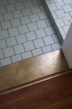 Use of a wide strip of contrasting tile makes a good transition from wood floors to a smaller tile.
