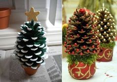 Here we have a lovely DIY Christmas project that presents how to make mini Christmas trees as original gifts or cute decorations. You will need: - a pine cone; -