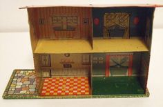 "1950s RARE Ohio Art Dollhouse Midget Manor 5 2"" Tall Tin Litho w Furniture Dolls 