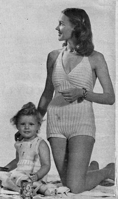 PDF Knit Pattern only. Available via instant download after purchase.  Vintage knit pattern for a 1947 Swim Suit or Bathing Suit. Modern mermaids may well start to sing about this figure-hugging suit. See why? Up and down ribbing mods the trunks to a comfortable snugness and crosswise ribbing does the same for the halter-neck bra top. Knit in nylon and wool yarn for quicker drying.  Size: 14, 16, 18 Bust: Not available in pattern, but for the time period probably a Bust 32, 34, 36 This is…