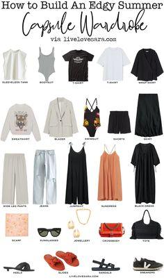 Small Wardrobe, Summer Wardrobe, Capsule Wardrobe, Wardrobe Basics, Wide Leg Denim, Wide Leg Pants, Edgy Summer Outfits, Denim Jacket With Dress, Kimono Shirt