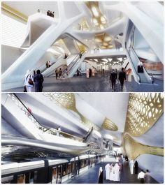Riyadh's new metro by Zaha Hadid, made from marble and gold and the tears of angels...