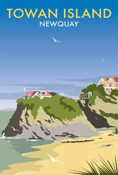 Towan Island (DT39) Beach and Coastal Print by Dave Thompson http://www.thewhistlefish.com/product/dt39f-towan-island-framed-art-print-by-dave-thompson  #newquay
