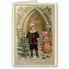Vintage Christmas Card A beautiful antique Christmas Card showing a young boy and little girl all dressed up in winter clothing standing ou...