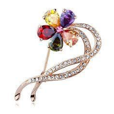 Swarovski Crystal Color Flower Brooch Gold