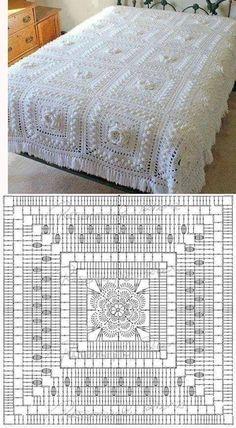 ideas crochet doilies square charts for 2019 Crochet Bedspread Pattern, Crochet Doily Rug, Crochet Beanie Pattern, Crochet Motifs, Crochet Cushions, Crochet Quilt, Granny Square Crochet Pattern, Crochet Diagram, Crochet Squares