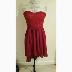 Red high-low dress Red high-low dress with lace top.  NOT FOREVER 21.   TRADE VALUE: $36 Forever 21 Dresses High Low