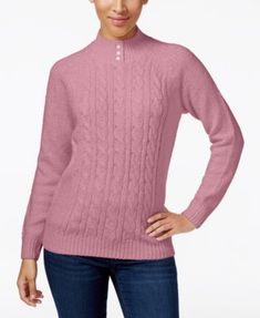 Karen Scott Cable-Knit Mock-Neck Sweater, Created for Macy's - Purple XXL
