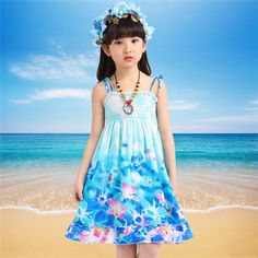 Cool Summer Bohemian Style 2017 Little Girl Dress Floral Beading Blue Beach Dresses Vestido Infantil Children Girls Clothes Hot