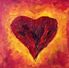 Original Oil Painting Heart Contemporary by NickySpauldingArt, $125.50