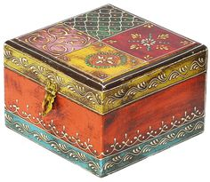"""Bulk Wholesale Hand-Crafted 6"""" Mango-Wood Square Jewelry Box in Multicolors – Antique-Look Box Decorated with Cone Painting Art & a Metal Lock"""