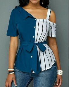 Stylish Tops For Girls, Trendy Tops, Trendy Fashion Tops, Trendy Tops For Women Latest African Fashion Dresses, African Print Fashion, Teen Fashion Outfits, Chic Outfits, Denim Outfits, Fashion Women, Cold Shoulder Bluse, Trendy Tops For Women, Classy Dress
