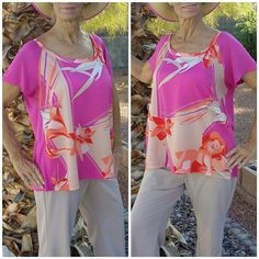 """Pink, tan, orange, cream top size XL Pink, tan, orange, cream top size XL, scoop neck, back is solid pink thin material, front colorful material is silky feel, 100% polyester,  27"""" length shoulder to hem, 46"""" bust, 9"""" sleeves  but no shoulder seam, 25 """" hem width for a boxy, drape, fly in the breeze fit New York & Company Tops Blouses"""