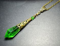 Olive Green Resin Crystal Icicle Necklace Yellow by LaTaniaJewelry