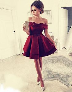 Simple burgundy short prom dress, burgundy homecoming dress