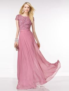 A-Line/Princess Short Sleeves Chiffon Lace Sweep/Brush Train Scoop Dresses
