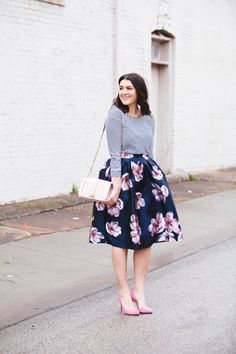 Spring outfit: blue-white striped longsleeve, full floral skirt, pink pumps, light pink Rebecca Minkoff bag