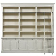 French Provincial Classic 6 Door Bookcase With Ladder