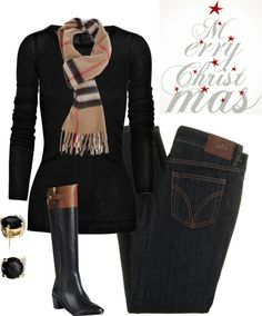 """""""Merry Christmas"""" by vintagesparkles78 ❤ liked on Polyvore. My version--add brown boot socks to my black boots."""