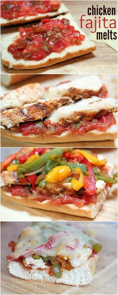 Grilled Chicken Fajita Melts ~ a healthy and delicious summer recipe | 5DollarDinners.com