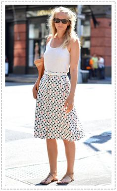 nothing better than a white tank and printed skirt in the summer. it always looks amazing and fresh.