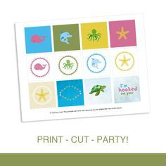 Cupcake Toppers Party Circles Printable PDF - Under the Sea Birthday Party Aquarium Beach Theme by daintzy