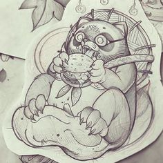 TANUKI's BURGER  Para citas e info guindero@hotmail.com |---> #nt #ntgallery #neotraditional #neotradsub #tattoolifemagazine #tattoolife #tattooartistmag #barcelonatattoo  #tattooworkers #thebestspaintattooartists #supportgoodtattooers #besttattooers #besttattoo #thebestneotradtattoo #wtt #wheretheytatt#japan #japanese #japanese #japanesetattoo #tanuki #yokai#yokaitattoo #sketch #sketchbook #sketchoftheday