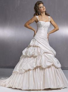 Maggie Sottero Hampton wedding dress - bubble pick ups in the skirt for a princess wedding style.