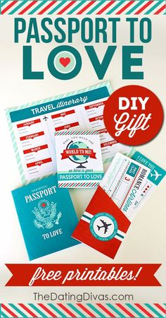 The perfect DIY romantic gift idea for your husband or boyfriend. I LOVE THIS!! Use the FREE printables and travel the world with your man on 12 creative at-home dates! www.TheDatingDivas.com