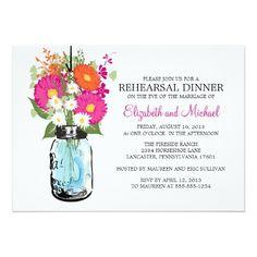 Barn Wedding Rehearsal Dinner Rehearsal Dinner Rustic Mason Jar Gerber Daisies Card