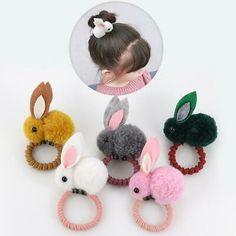 Elastic Hair Bands, Elastic Headbands, Baby Hair Accessories, Diy Hair Bows, Cute Bunny, Bunny Rabbit, Rubber Bands, Diy Hairstyles, Japanese Hairstyles