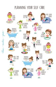 Planning for Self Care Stickers. Light Skin and Brunette Girl. 19 Planner Stickers for Erin Condren, Happy Planner, Simplified Planner. This great Planning for Self Care sticker set has sever Planner Stickers, Fridge Stickers, Skin Care Routine For Teens, Self Care Routine, Coping Skills, Life Skills, Haut Routine, Simplified Planner, Vie Motivation