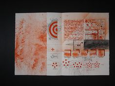 The New Post-literate: A Gallery Of Asemic Writing: Redshift & Trajections from Timothy Ely Art Journal Pages, Journal 3, Art Journals, Ely, Bookbinding, Art Sketches, Printmaking, Book Art, Vintage World Maps