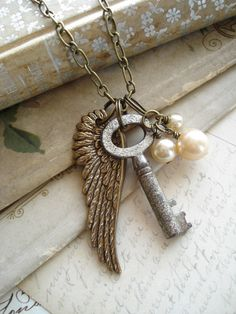 GUARDIAN ANGEL Wing Necklace with Vintage Skeleton Key, and Shabby Bohemian Glass Pearls.