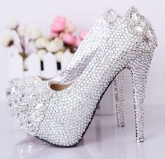 Crystal  wedding rhinestone shoes ultra high heels sexy pumps women  party shoes free shipping $94.00