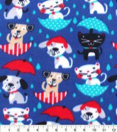 Blizzard Fleece Fabric-Raining Cats And Dogs