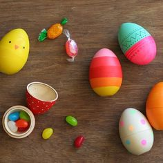 """Customize your own Easter Eggs with paint etc., made from """"Blank Goods""""  hollow wooden eggs...can be filled with treats, or used as place cards...endless possibilities!"""