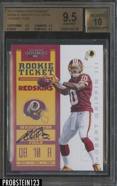 2012 Contenders Rookie Ticket Passing Robert Griffin III RC AUTO BGS 9.5 /50 #BGS95 #SportsCards