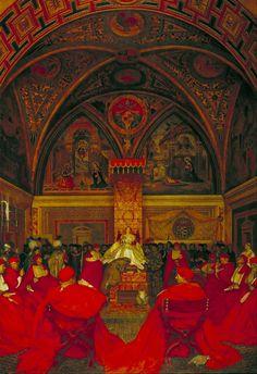 Frank Cadogan Cowper,Lucretia Borgia Reigns in the Vatican in the Absence of Pope Alexander VI, c 1910.