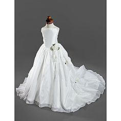 Ball Gown Spaghetti Straps Court Train Taffeta Satin Flower Girl Dresses / First Communion Dresses – USD $ 97.99