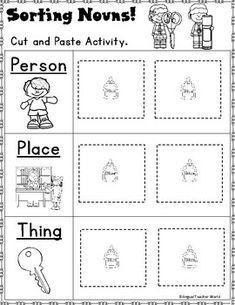 December Nouns: Kindergarten and First Grade grammar activities. First grade Christmas activities. Nouns First Grade, Second Grade, Nouns Kindergarten, Grammar Activities, Grammar Games, Nouns And Verbs, Fun Worksheets, Schools First, Classroom Resources