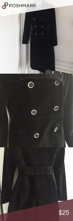 Long Black Corduroy Coat Beautiful double breasted corduroy coat, very chic and slimming, has a high slit in the back, worn a few times in great condition bebe Jackets & Coats Pea Coats