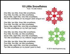 10 Little Snowflakes song that teacher math as well as literature skills.