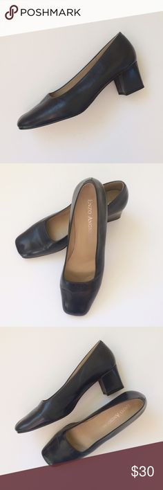 """EUC Enzo Angiolini Navy Pumps EUC Enzo Angiolini Navy Pumps...Slip-on Pump...chunky low heeled pump style set on a durable and supportive outsole with sleek squared toe and classic pump styling for versatility...smooth navy blue leather. Heel Height: 2.25"""". Original box not included. Wardrobe stock used once on set...scuffs on sole only. Size 9.5 Retail $75 Enzo Angiolini Shoes Heels"""