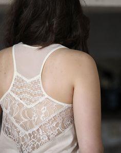 Off white lace tunic - scoop neck, racerback, prairie, romantic, boho chic - large
